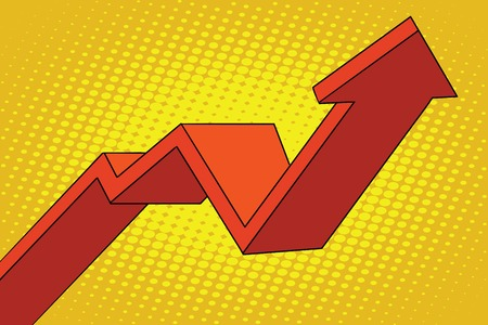 up arrow chart sales, pop art retro vector illustration