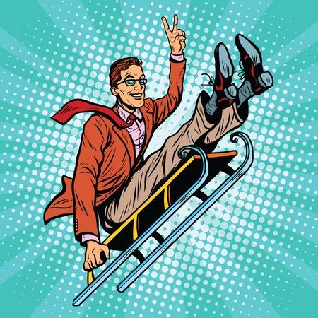 Retro Mann auf einem Schlitten fahren, Pop-Art Retro-Vektor-Illustration. Wintersport, Spiele und Unterhaltung Vektorgrafik