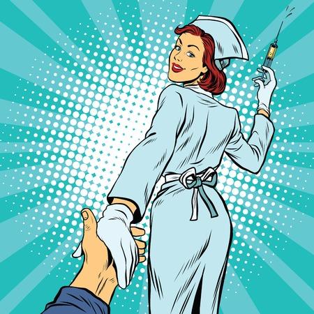 follow me: follow me, nurse injection vaccine medicine, pop art retro vector illustration. The doctor and health