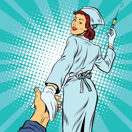 sígueme, enfermera vacuna inyectable medicina, arte pop retro ilustración vectorial. El médico y de la salud