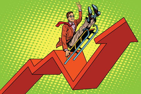 Businessman on a sled, up arrow chart sales, pop art retro vector illustration 일러스트