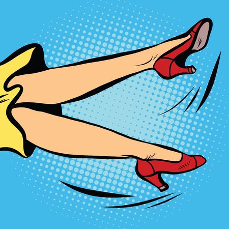 woman art: the woman falls or waving his legs, pop art retro vector illustration