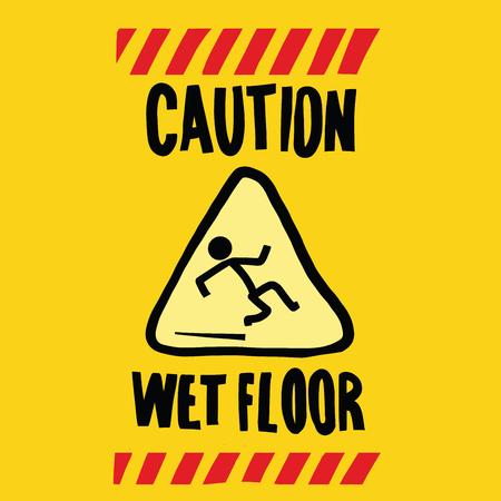 wet floor: caution wet floor, pop art retro vector illustration
