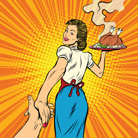 follow me, the restaurant and delicious homemade food pop art retro vector illustration. A housewife and a Turkey for Thanksgiving and Christmas Vectores