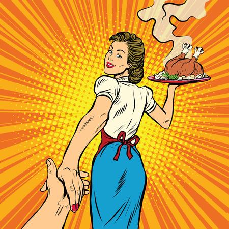 volg mij, het restaurant en de heerlijke zelfgemaakte gerechten pop art retro vector illustratie. Een huisvrouw en een Turkije voor Thanksgiving en Kerstmis