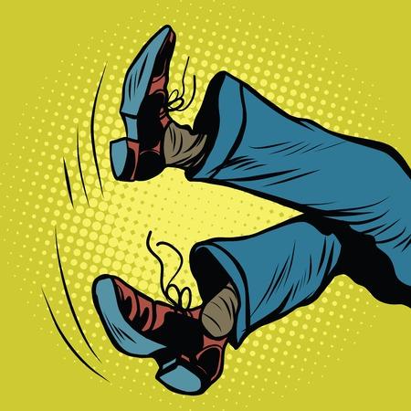 lie down: feet man falls pop art retro vector illustration