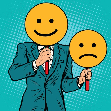 Smiley facial expressions happy and sad, pop art retro vector illustration