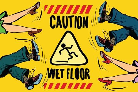 mojada: precaución piso mojado, los pies de las mujeres y los hombres, la gente cae ilustración del arte pop retro del vector