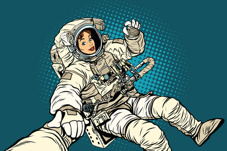follow me, woman astronaut, pop art retro vector illustration. Open space, the man in the suit