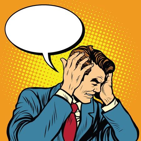 madness: businessman with a headache pop art retro vector illustration