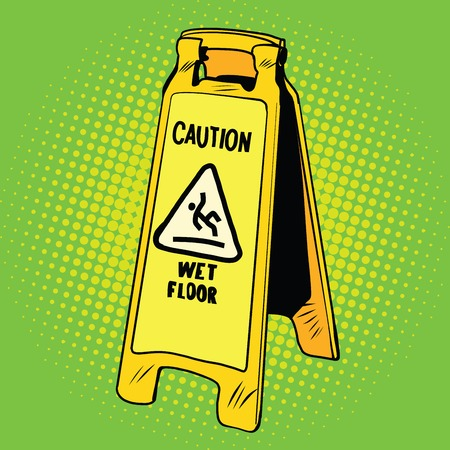 skid: caution wet floor sign, pop art retro vector illustration