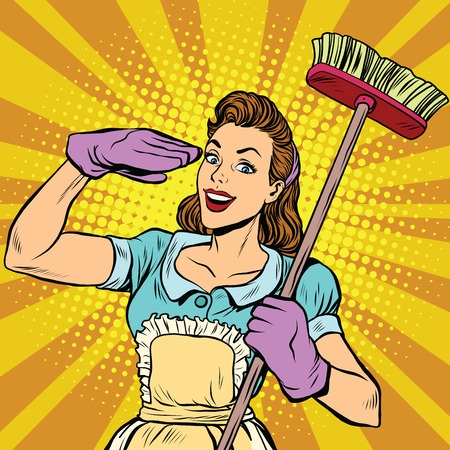 Female cleaner cleaning company pop art, vector illustration. Housewife in retro style