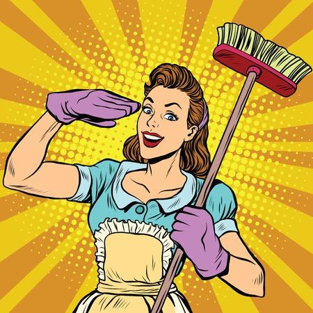 Vrouw cleaning bedrijf pop art, vector illustratie. Huisvrouw in retro stijl