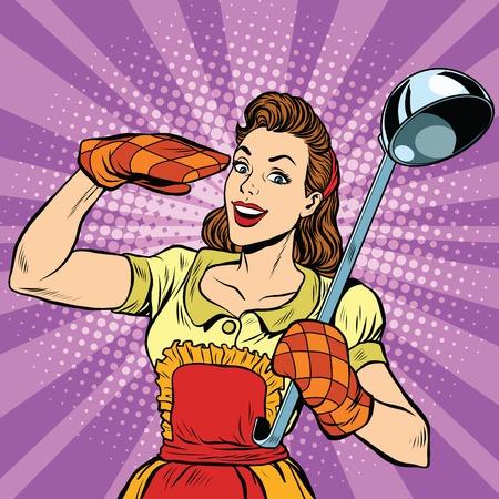 cocina caricatura: ama de casa en la cocina retro, ilustración vectorial arte pop. De cocina y alimentos Vectores