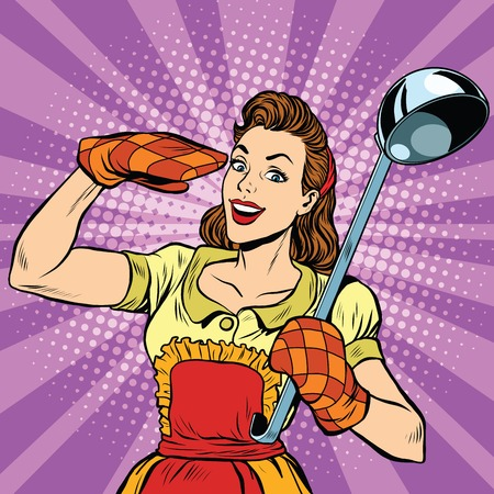 Retro housewife in kitchen, pop art  vector illustration. Cooking and food