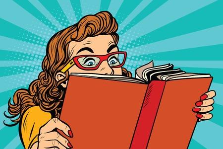 Młoda dama z książką, pop art retro ilustracji wektorowych. Ciekawa lektura