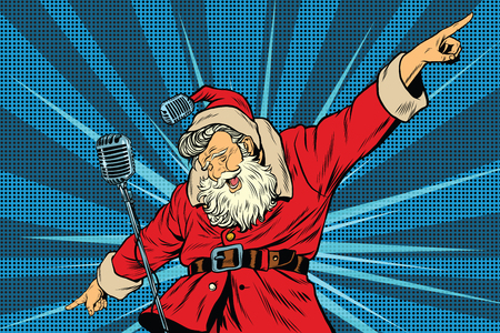 Santa Claus superstar singer on stage, pop art retro vector illustration. Holidays New year and Christmas. Concerts and parties Vettoriali