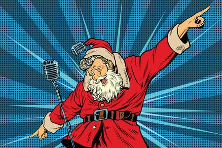 Santa Claus cantante súper estrella en el escenario, ilustración vectorial de arte retro pop. Vacaciones Navidad y año nuevo. Conciertos y fiestas