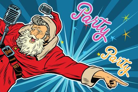 Pop art invitation to a Christmas party, retro vector illustration. Santa Claus singer 일러스트