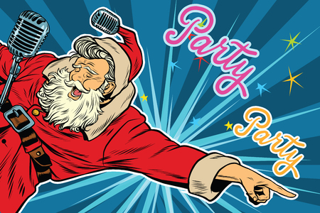 Pop art invitation to a Christmas party, retro vector illustration. Santa Claus singer Stock Illustratie
