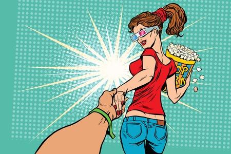 Suivez-moi, femme film pop-corn, pop art rétro illustration vectorielle. Divertissement dans le cinéma Banque d'images - 63995284