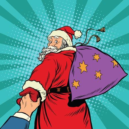 Follow-me, Santa Claus mit Geschenken des neuen Jahres Weihnachten, Pop-Art Retro-Vektor-Illustration. Die Feiertage und die Magie Standard-Bild - 63995285