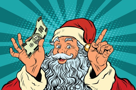 Santa Claus with money, New year and Christmas, pop art retro vector illustration. Holiday sales