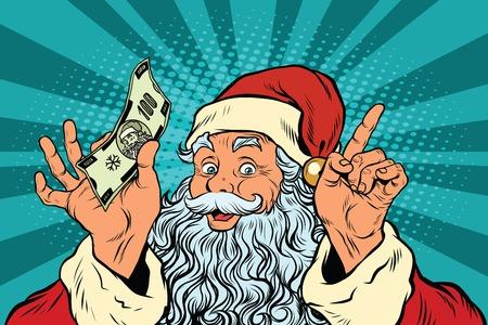 Santa Claus con dinero, año nuevo y Navidad, ilustración vectorial de arte retro pop. Ventas de vacaciones