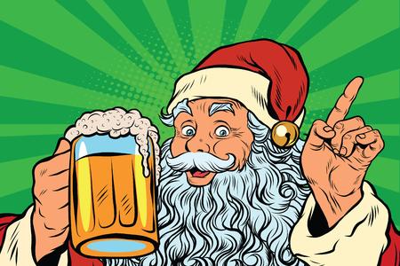 Mikołaj z piwa, ilustracji wektorowych sztuki pop retro. Wakacje w Nowy Rok i Boże Narodzenie. Pub lub restauracji