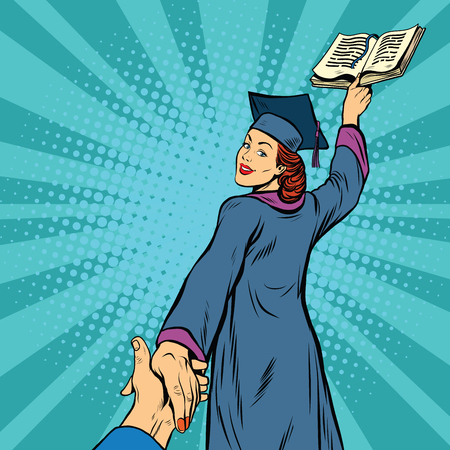 achiever: follow me, a woman student graduate knowledge education, pop art retro vector illustration