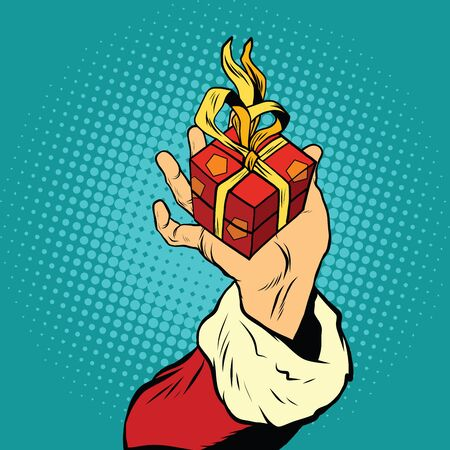 betrothal: Hand of Santa Claus with gift, pop art retro vector illustration. Holiday New year and Christmas
