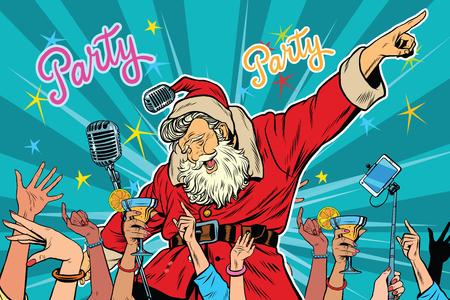 クリスマス パーティー サンタ クロース歌手、ポップアートのレトロなベクトル図