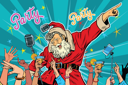 listeners: Christmas party Santa Claus singer, pop art retro vector illustration Illustration