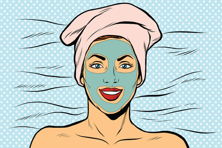 Woman with cosmetic mask on face, pop art retro vector illustration.