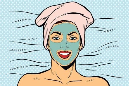 Mujer con máscara cosmética en la cara, ilustración vectorial retro arte pop.
