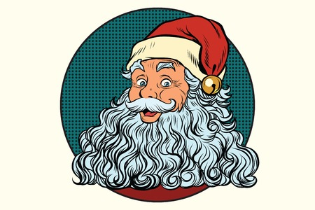 classic santa: Classic Santa Claus with white beard, pop art retro vector illustration. Holidays New year and Christmas