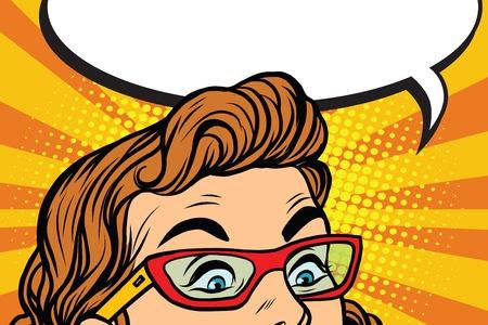 メガネっ子、ポップアートのレトロなベクトル図で驚いて目 ベクターイラストレーション
