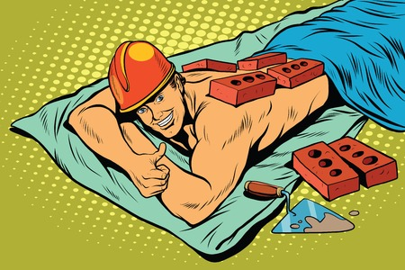 stern: Spa Builder worker bricks, pop art retro vector illustration. A stern man resting