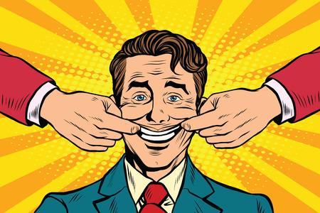 Man forced to smile, pop art retro vector illustration. False emotions