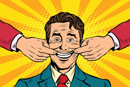 falso: El hombre obligó a sonreír, el arte pop retro ilustración vectorial. emociones falsas