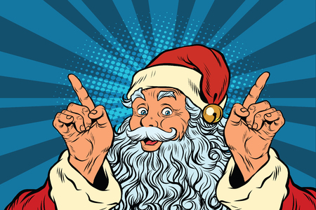Santa Claus makes a gesture of attention, pop art retro vector illustration. Holidays new year and Christmas