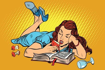 Mooie vrouw liggend een boek te lezen en het eten van een appel, pop art retro vector illustratie. 'S avonds voor een interessante lezen Stock Illustratie