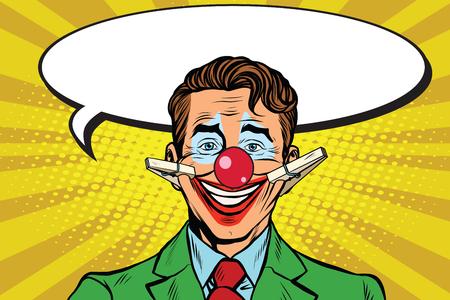 Clown face smile on clothespins, pop art retro vector illustration. Circus artist. Hypocritical joy