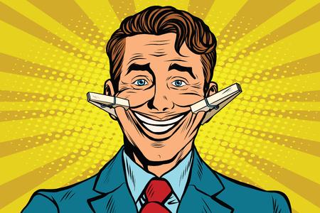 falso: La cara falsa sonrisa con ganchos de ropa, ilustración vectorial arte pop retro