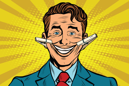 faker: The false smile face with clothespins, pop art retro vector illustration