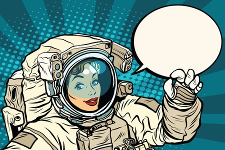 woman girl: OK gesture female astronaut in a spacesuit, pop art retro vector illustration, science and research