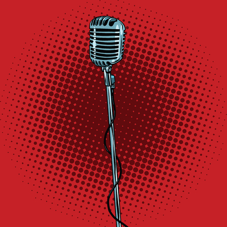 music stand: retro microphone and stand, pop art vector illustration. Music and concert Illustration