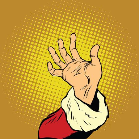 Hand of Santa Claus, New year and Christmas, pop art retro vector illustration