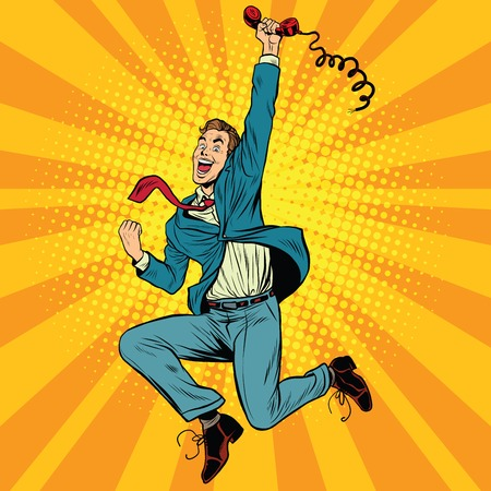 Joyful retro man with a handset, pop art vector illustration. gadgets and phones Stock Illustratie