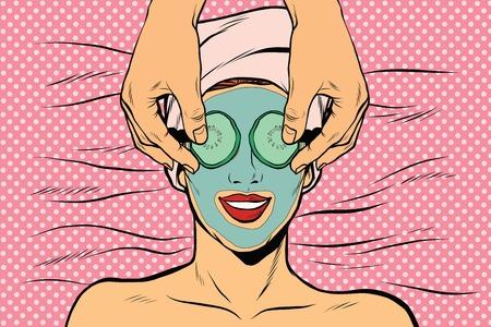 Frau mit Frucht Schönheit Maske, Pop-Art Retro-Vektor-Illustration Standard-Bild - 60932538